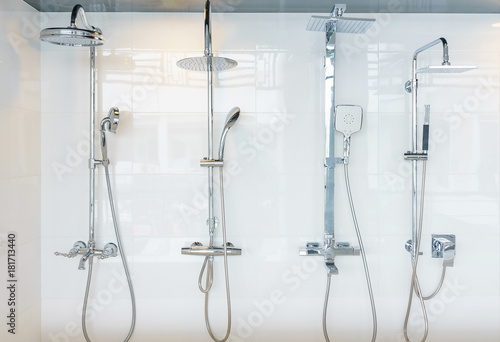 Collection of stainless head shower in bathroom