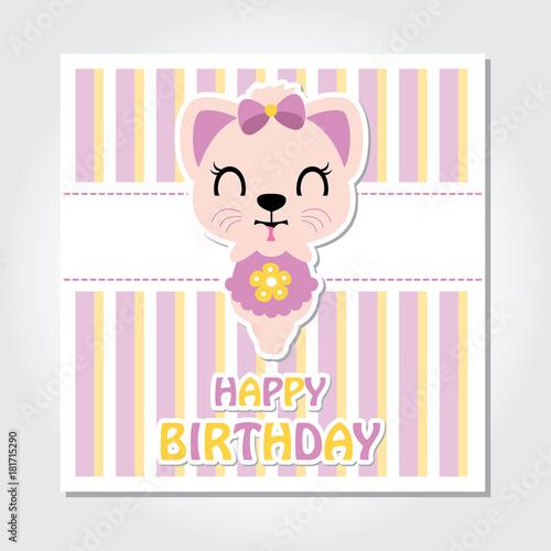 Cute Kitten Is Happy On Striped Background Vector Cartoon