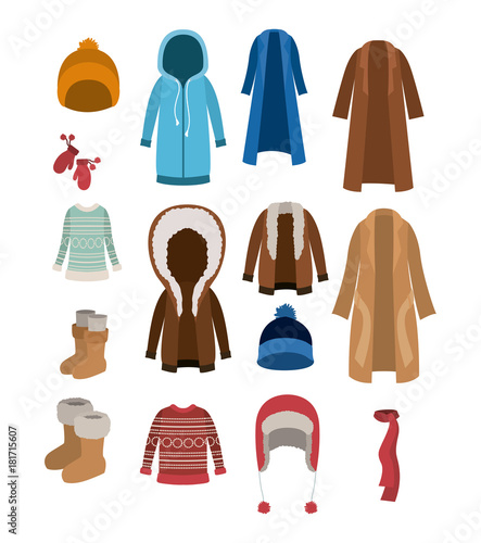 Obraz na plátně winter clothes set with coats sweaters wool cap boots scarf jackets and gloves o