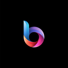Initial Lowercase Letter B, Curve Rounded Logo, Gradient Vibrant Colorful Glossy Colors On Black Background