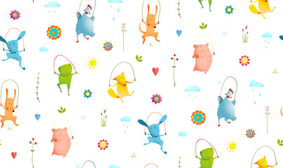 Fototapeta Do pokoju dziecka Funny animals jumping, playing outside pattern transparent background. Vector cartoon.