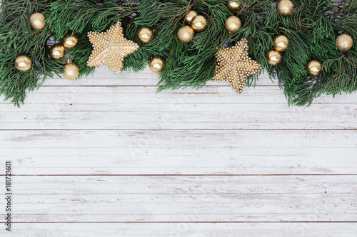 Poster Roe Christmas decoration on the white wooden vintage background. New year greeting card template. Holiday mock up. Scandinavian style.