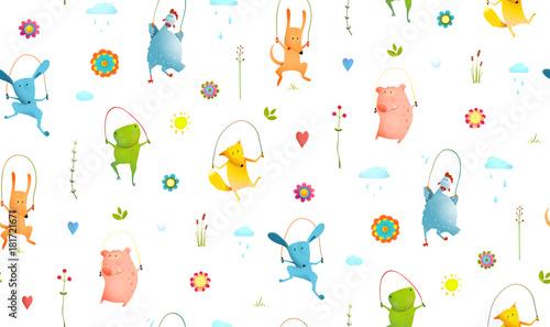 Śmieszne zwierzęta skoki, grając poza przezroczystym tle. Kreskówka wektor.