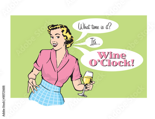 Photo Wine O'Clock Retro Housewife Vector Graphic