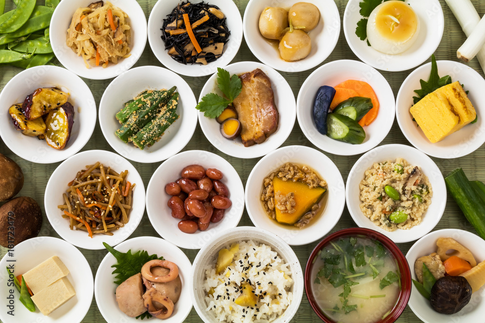Fototapety, obrazy: ごはんのおかず Side dishes of rice japanese food