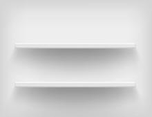 Realistic White Shelves. Vecto...