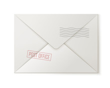 Post Envelope, Back, Isolated....