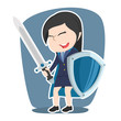 Super chinese businesswoman with sword and shield– stock illustration