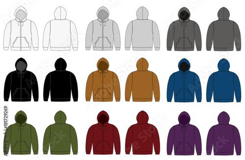 Fototapeta Illustration of hoodie (hooded sweatshirt) , zip up parka / color variation