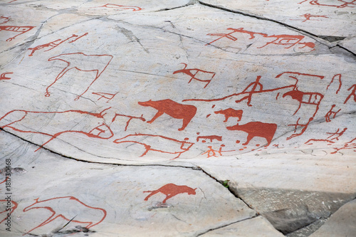 Photo prehistoric rock carving
