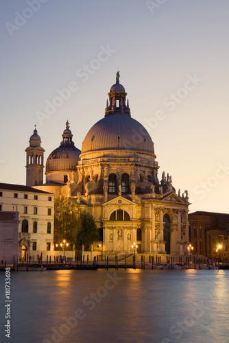 Staande foto Venice Cathedral of Santa-Maria-della-Salyute in evening illumination. Venice, Italy