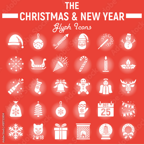 Christmas glyph icon set, new year signs - Buy this stock vector and ...
