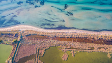 Amazing Aerial Drone Image.Abstract Nature In The Water At The Salt Marshes Of Lefkimmi.oday The Salt Marshes Of Lefkimmi Are One Of The Most Important Wetlands Of Corfu,Greece.
