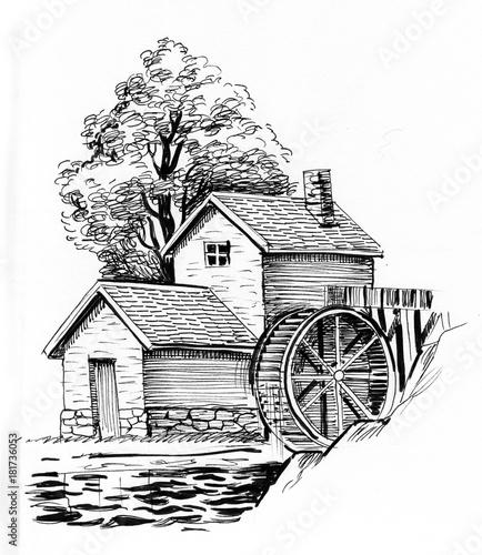 Obraz na płótnie Ink black and white illustration of a water mill