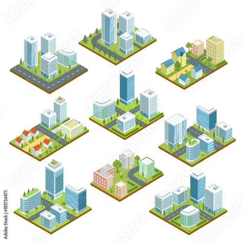 Fotografía  Modern downtown isometric 3D set