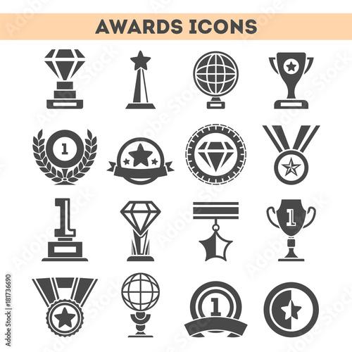 Fotografie, Tablou  Champion awards of different shape icons set