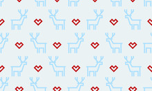 Christmas Pattern Background Seamless Deer Reindeer And Heart Embroidery Design. Vector Red Heart And Blue Deer Pattern On White Snow Background For Winter Holiday New Year Greeting Card