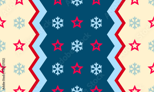 Christmas Snowflake And Star Vector Seamless Pattern Background For