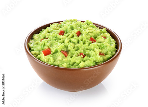 Pinturas sobre lienzo  Bowl with guacamole isolated on white background.