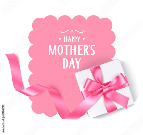 Happy Mothers Day Vector Template With Gift Box Pink Bow And Long