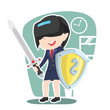 Asian businesswoman with vr headset holding shield and sword– stock illustration