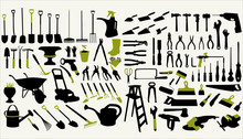 A Collection Of Garden And Construction Tools On A White Background
