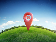 House Symbol With Location Pin Icon On Earth And Green Grass In Real Estate Sale Or Property Investment Concept, Buying New Home For Family - 3d Illustration Of Big Advertising Sign