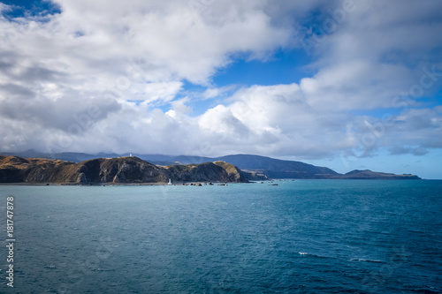 Lighthouse on cliffs near Wellington, New Zealand