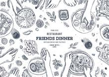 Family Dinner Top View Illustr...
