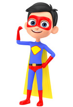 Boy Superhero Shows Muscles On...
