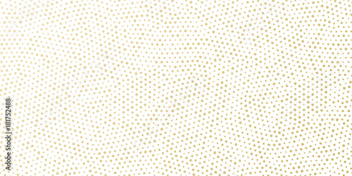 Ingelijste posters Kunstmatig Christmas holiday golden background template for greeting card or New Year gift wrapping paper design. Vector gold dotted pattern for Christmas wrapper seamless golden confetti white background