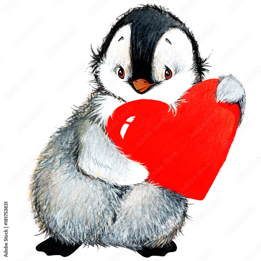 Photo Art Print Valentine Day Cute Penguin And Red Heart
