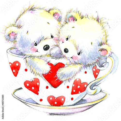 Cute teddy bear. Love you card. Valentines day watercolor background.