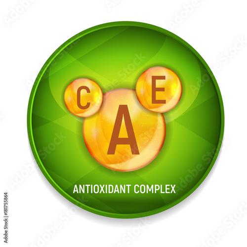 Photo Vitamin A, C, E  Icon. Antioxidant Complex. Vector Illustration