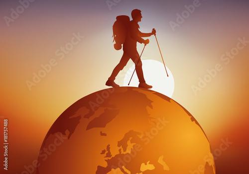 Obraz na plátne voyage - voyager - globe - randonneur - tour du monde - baroudeur - voyageur - t