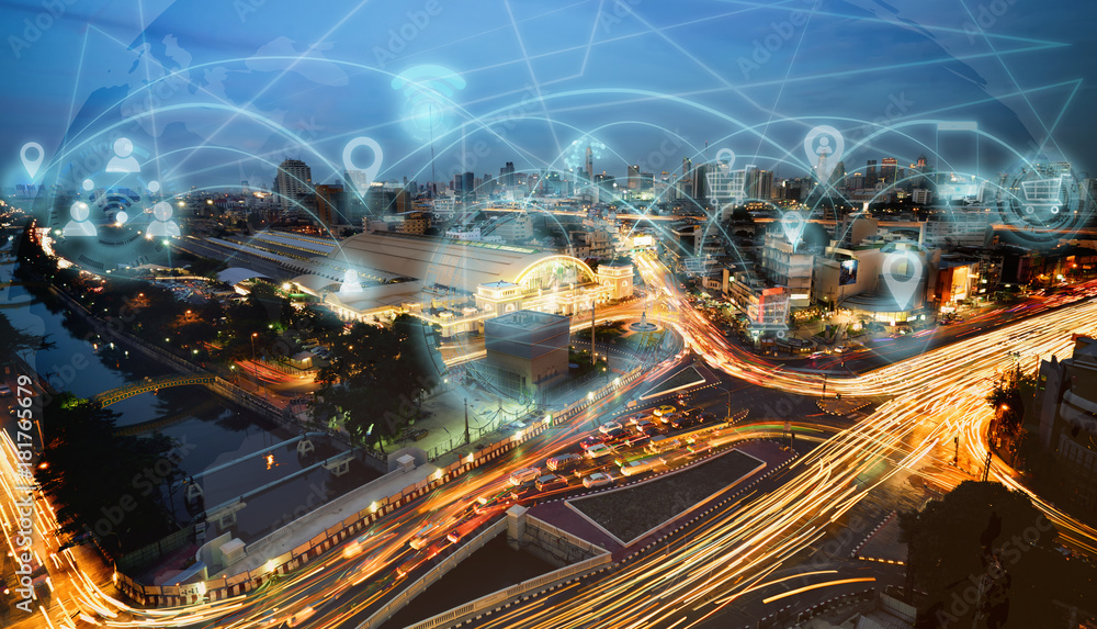 Fototapety, obrazy: Smart city and internet wireless communication network with icon