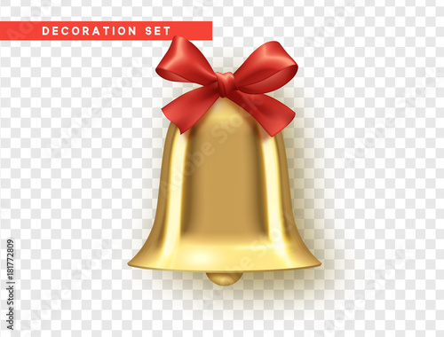 Fototapeta Traditional holiday decoration element, golden bell with red bow