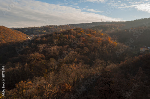 Staande foto Chocoladebruin Normafa tower look at Budapest city autumn landscape