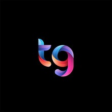 Initial Lowercase Letter Tg, Curve Rounded Logo, Gradient Vibrant Colorful Glossy Colors On Black Background