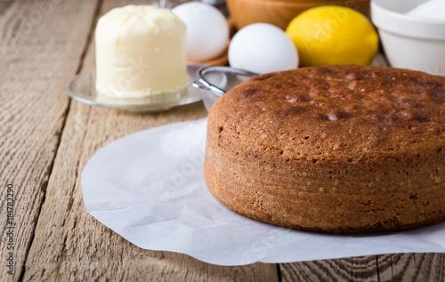 Fotomural Homemade sponge cake and ingredients