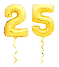 Golden Number 25 Twenty Five Made Of Inflatable Balloon With Ribbon Isolated On White