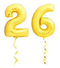 Golden Number 26 Twenty Six Made Of Inflatable Balloon With Ribbon Isolated On White