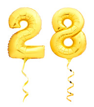Golden Number 28 Twenty Eight Made Of Inflatable Balloon With Ribbon Isolated On White