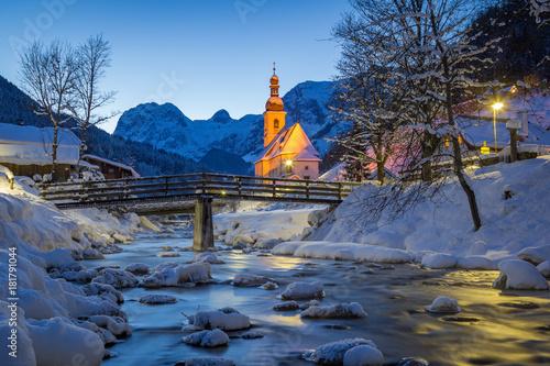 Poster Bleu nuit St. Sebastian Parish Church at night in winter at Berchtesgadener Land, Bavaria, Germany