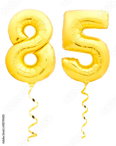 Tela  Golden number eighty five 85 made of inflatable balloon with ribbon on white