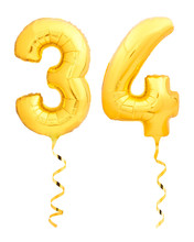 Golden Number Thirty Four 34 Made Of Inflatable Balloon