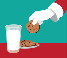 Santa's Snack For Christmas. Santa Claus Grabs A Chocolate Chip Cookie. EPS 10 Vector Illustration.