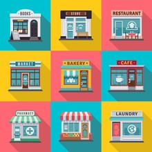 Set Of Flat Shop Building Faca...