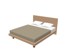 Modern Double Bed. Isolated On...