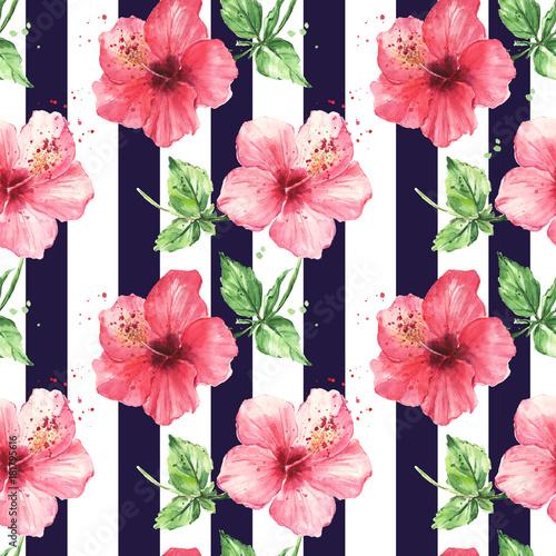 akwarela-wzor-czerwony-hibiskus-kwiaty-pasiasty-bezszwowe-czarny-wzor